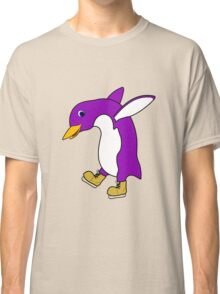Christmas Purple Penguin with Gold Ice Skates Classic T-Shirt
