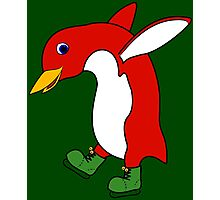 Christmas Red Penguin with Green Ice Skates Photographic Print