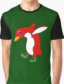 Christmas Red Penguin with Green Ice Skates Graphic T-Shirt