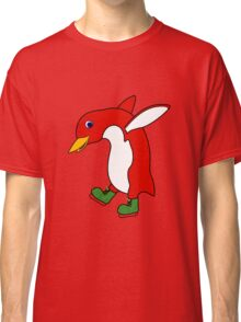 Christmas Red Penguin with Green Ice Skates Classic T-Shirt