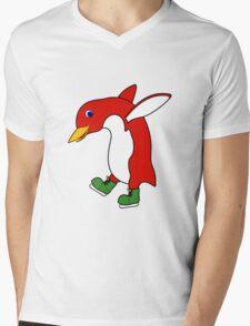 Christmas Red Penguin with Green Ice Skates Mens V-Neck T-Shirt