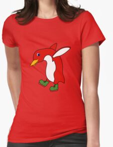 Christmas Red Penguin with Green Ice Skates Womens Fitted T-Shirt