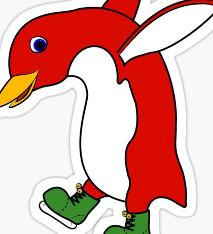 Christmas Red Penguin with Green Ice Skates Sticker