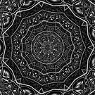 Kaleidoscope 5 black & white geometric fractal mandala pattern by Leah McNeir