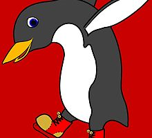 Christmas Penguin with Red & Gold Ice Skates by Grifynne