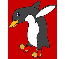 Christmas Penguin with Red & Gold Ice Skates Photographic Print