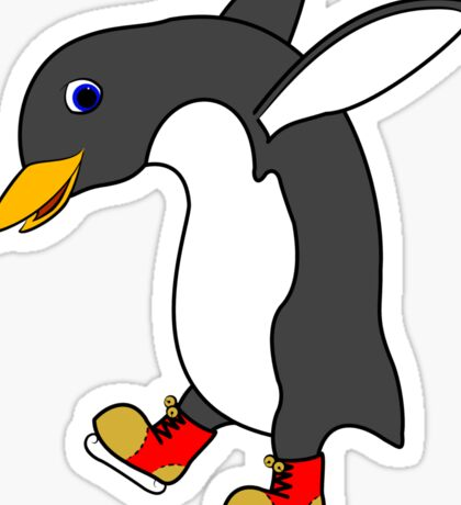 Christmas Penguin with Red & Gold Ice Skates Sticker