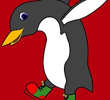 Christmas Penguin with Red & Green Ice Skates by Grifynne