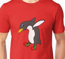Christmas Penguin with Red & Green Ice Skates Unisex T-Shirt