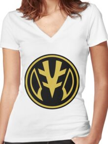 White Saber Zord Women's Fitted V-Neck T-Shirt