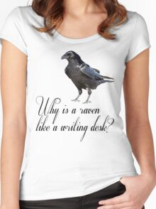 Why is a Raven like a Writing Desk? Women's Fitted Scoop T-Shirt
