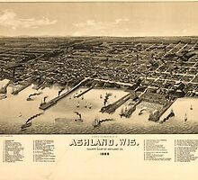 Panoramic Maps A bird's eye view of the city of Ashland Wis county seat of Ashland County 1886 by wetdryvac