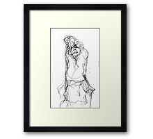 Old Lady with Stick Framed Print