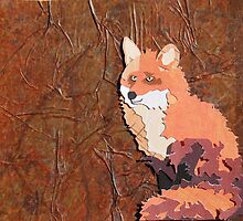 Cut Paper Animal Collage: Fox by chillchey