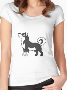 White & Black Alaskan Malamute with Curled Tail Women's Fitted Scoop T-Shirt