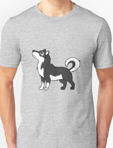 White & Black Alaskan Malamute with Curled Tail T-Shirt