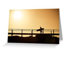 Surfer running to the beach Greeting Card