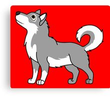 White & Gray Alaskan Malamute with Curled Tail Canvas Print