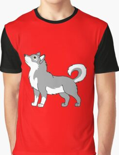 White & Gray Alaskan Malamute with Curled Tail Graphic T-Shirt