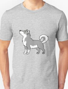 White & Gray Alaskan Malamute with Curled Tail T-Shirt