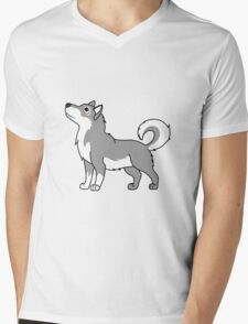 White & Gray Alaskan Malamute with Curled Tail Mens V-Neck T-Shirt