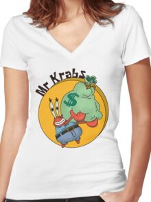 Did you know crabs love money! Women's Fitted V-Neck T-Shirt