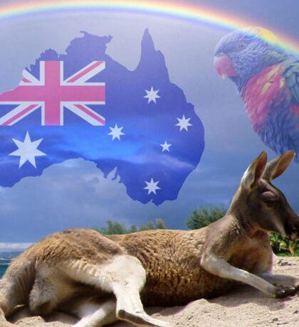 Kangaroo and Lorikeet Sticker