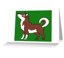 White & Red Alaskan Malamute with Curled Tail Greeting Card