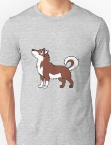 White & Red Alaskan Malamute with Curled Tail T-Shirt