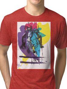 Horse jumping in colour Tri-blend T-Shirt