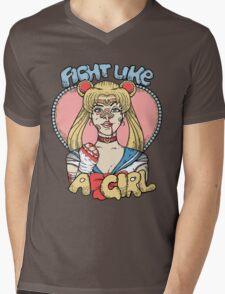 Sailor Moon- Fight Like a Girl Mens V-Neck T-Shirt