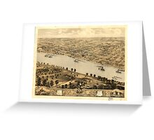 Panoramic Maps Bird's eye view of Jefferson City the capitol of Missouri 1869 Greeting Card