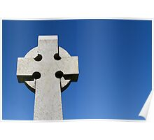 Celtic Stone Cross against a deep blue sky Poster