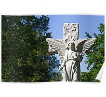 White Stone Cemetery Angel Poster