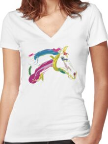 Cool t-shirt, horse Lovely in colours Women's Fitted V-Neck T-Shirt