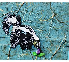 Cut Paper Animal Collage: Skunk Photographic Print