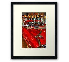 1959 Cadillac At The Pumps Framed Print