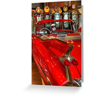 1959 Cadillac At The Pumps Greeting Card