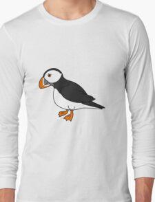 Black & White Puffin Bird with Orange Feet Long Sleeve T-Shirt