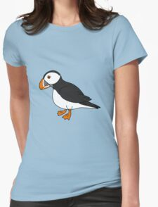 Black & White Puffin Bird with Orange Feet Womens Fitted T-Shirt