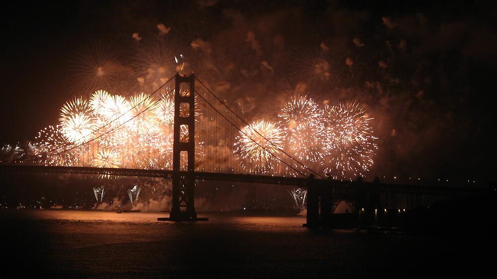 Golden Gate Bridge 75th Anniversary fireworks by tabusoro