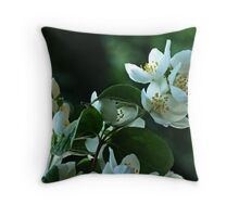 White Buds and Blossoms Throw Pillow