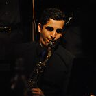 Playing the sax at Brisbane Jazz Club by Magda Labuda by Access Arts Camera Wonderers
