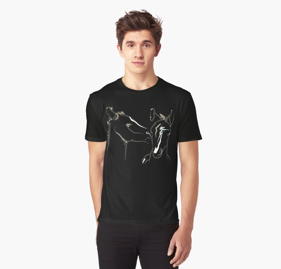 Cute T-shirt - horse - together 6 by Go van Kampen