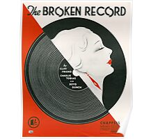 THE BROKEN RECORD (vintage illustration) Poster