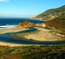 #1115  River Meets Ocean In Big Sur by MyInnereyeMike