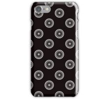 Eiffel Tower flower wallpaper - white on black iPhone Case/Skin