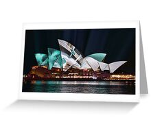 Opera House in Green - Vivid Sydney 2012 Greeting Card