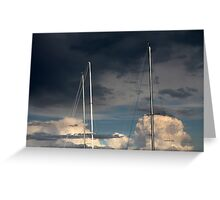 sailing in the cloudy sky Greeting Card
