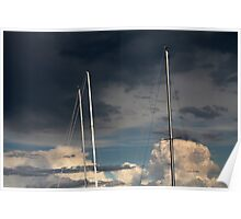sailing in the cloudy sky Poster